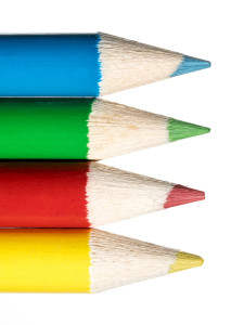 Red, yellow, green and blue colouring pencils